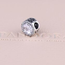 Authentic Pandora Silver  Charm Bead Radiant Hearts Clear 791725