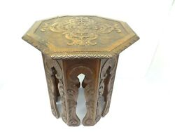 Antique Old Carved Wood Brown Tabletop End Table Furniture Stand Used Wooden