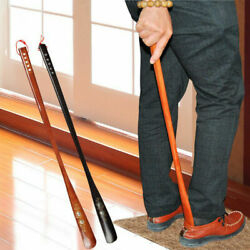 21.6quot; Upper Flexible Long Handle Reach Easy Shoehorn AID Wood Craft Shoes Horn $6.98