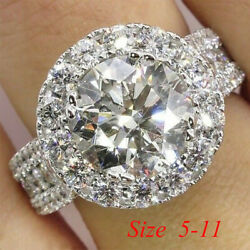 Gorgeous 925 Plated Silver Jewelry Round Cut White Sapphire Wedding Ring Sz 6-10