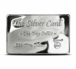 The Silver Card 1 Troy Oz .999 Fine BU Pyromet Fits in Your Wallet Ingot Card $40.95