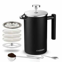 Finedine French Press Coffee Maker - (34-Oz) 188 Stainless Steel Double Wall