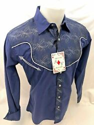 Mens RODEO WESTERN COUNTRY NAVY BLUE Long Sleeve Woven SNAP UP Shirt Cowboy 6695