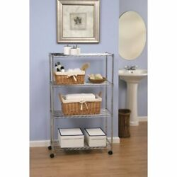 SHE14304ZB 4-Tier Steel Wire Shelving with Wheels 30