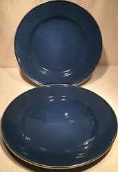 """Lot Of 2 10 3 4"""" Enamelware Cobalt Blue Home Plates With Silver Rim $22.50"""