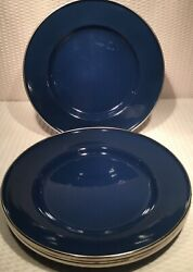 """Lot Of 4 9"""" Enamelware Cobalt Blue Home Plates With Silver Rim $27.50"""