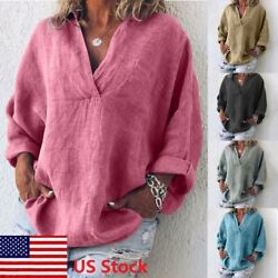Women V Neck Loose Long Sleeve Blouse Cotton Linen Summer Casual T Shirt Tops US