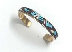 14K Gold Zuni Native American Multicolor Inlay Cuff Bracelet