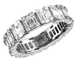 WIDE 2.95CT DIAMOND 18KT WHITE GOLD ROUND & BAGUETTE INVISIBLE ANNIVERSARY RING