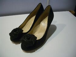 KATE SPADE NEW  YORK BLACK SUEDE WITH ROSE FLOWER SHIMMER  PUMPS SHOES 7.5  B