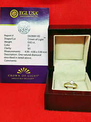 0.62ct Crown Of Light Diamond & 14k Yellow Gold Ring Color D Clarity SI1