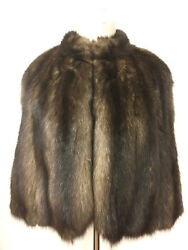 Vintage Golden-Brown RUSSIAN SABLE FUR Silk-Lined Short Cape OS