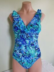 Ralph Lauren exotic paisley ruffled underwire one piece swimsuit size 14 AM18