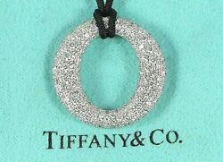 $13500 Tiffany & Co Diamond O Platinum Elsa Peretti Sevillana Pendant Necklace