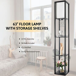 Floor Lamp with Storage Shelves Fabric Shade Minimalist White for Living Room $38.85
