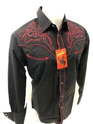 Men RODEO WESTERN BLACK RED STITCH Long Sleeve Woven SNAP UP Shirt Cowboy 520