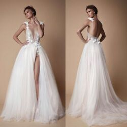 Boho Sexy Deep V-neck Wedding Dresses Split A Line Bridal Gowns Tulle Backless
