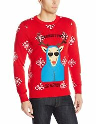 Alex Stevens Men's She Doesn't Even Go Here Ugly Christmas Sweater Red Medium