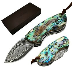 ALBATROSS Mini Pocket Knife Abalone Seashell 4.75#x27;#x27; Damascus Steel Folding Knife $27.58
