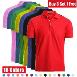 Men#x27;s Dri Fit Causal Cotton Polo Shirt Jersey Short Sleeve Sport Causal Golf T