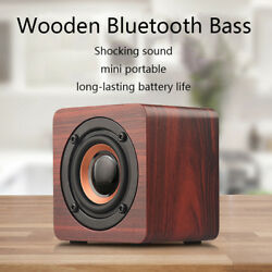 Portable Wireless Bluetooth Speaker Mini Retro Wooden Shocking Bass Loudspeaker