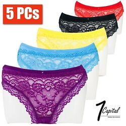 5 PCs Women Ladies Floral Lace Bikini Panty Panties Bikini Briefs Underwear M XL $8.99