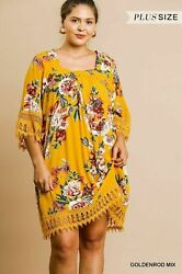 Umgee Goldenrod Floral Crochet Plus Size Dress Best of The Best $49.99