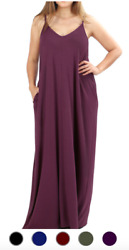 NEW V Neck Cami Maxi Dress w Side Pockets Loose Fit Large XL 1X $15.75