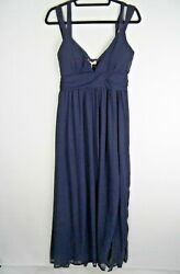 Variety Women Navy Blue Maxi Dress Size L 12 14 Prom Cruise Evening Occasion GBP 17.50