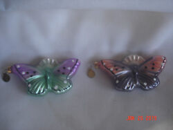 GORGEOUS LOT 2 Vtg. DEPT. 56 BUTTERFLY GLASS ORNAMENTS w METAL HANG TAGS