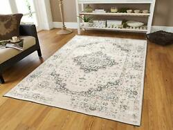 Traditional Distressed Area Rug 8x10 Large Rugs for Living Room 5x8 Gray Ivory $89.94