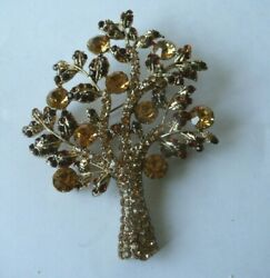 Stunning Large Diamante and Goldtone Tree of Life Brooch