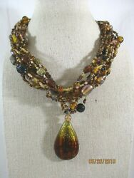 Art Glass Pendant Shades of Brown Multi Shape 12 Row Glass Bead Necklace 16quot; 19quot; $14.44