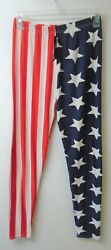 NEW SHE'S USA AMERICAN FLAG JULY 4TH PANTS WORKOUT YOGA LEGGINGS WOMENS SIZE XL