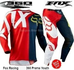 NEW Fox 360 Preme YOUTH Motocross pants amp; jersey combo #26 Kids Red Navy BMX MX AU $119.00