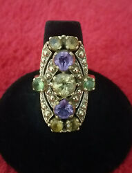 Nicky Butler Gold Tone Multi Colored Gemstone Ring Size 9