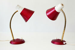 SET of TWO Mid Century Modern SIDE TABLE LAMPS Desk Lights 1970s GERMANY
