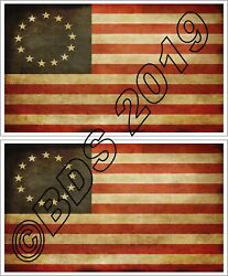 Betsy Ross Flag Tea Stained Vinyl Sticker Decal 13 Star American Flag x 2
