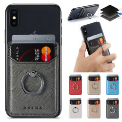 Universal Leather Card Holder Pocket+Ring Stand Adhesive Sticker For Cell Phone