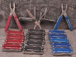 Leatherman Squirt PS4 Multi Tool 9 Tools Black Red Blue Spring Action Pliers