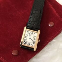 [CARTIER] Tank Solo Watch for WomenSmall 18 Rose Gold and SteelBlack Leather