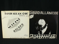 David Allan Coe Underground SIGNED & Nothing Sacred Vinyl VG+EX Private Press