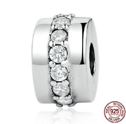 100% 925 Sterling Silver Shining Path Clear CZ Clip Beads Charm pandora