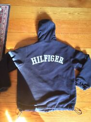 vtg  90s Tommy Hilfiger Reversible Jacket Spell Out Fleece Used Mens Small Coat