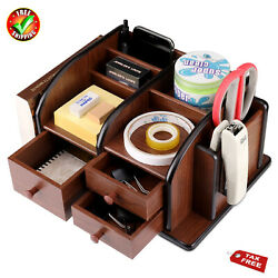 New Revolving Holder Box Caddy Remote Control Organizer Wooden Storage TV Stand