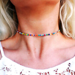 2pcs Set Rainbow Color Jewelry Women Colorful Beading Casual Vacation Necklace