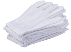 10Pair White Cotton Gloves Large Size Coin Jewelry Silver Inspection Lightweight