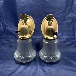 Wired Pair Antique Brass Sconces Antique Shades Nice 78E $700.00