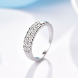 Brilliant Round Cut 18K White Gold Filled Pave Clear Topaz Engagement Band Ring