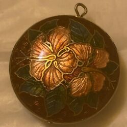 """Round Cloisonne Vintage Floral Pendant Shades Of Red Green Brown Gold Tone 1"""" $9.95"""